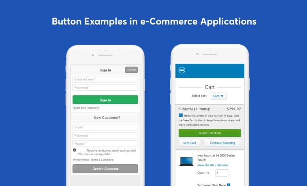 Diseño de botones sugestivos de comercio electrónico móvil ux