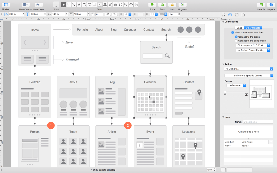 Omnigraffle is a mockup tool for creating wireframes and diagrams for the UX design process.