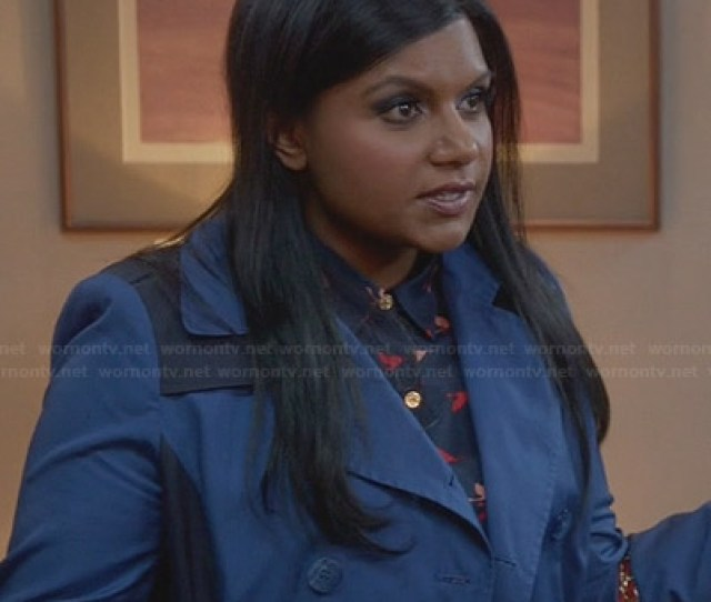 Mindys Blue Two Tone Trench Coat On The Mindy Project