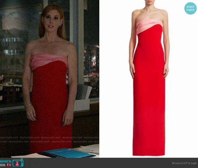Oscar De La Renta Two Tone Strapless Silk Gown Worn By Donna Paulsen Sarah