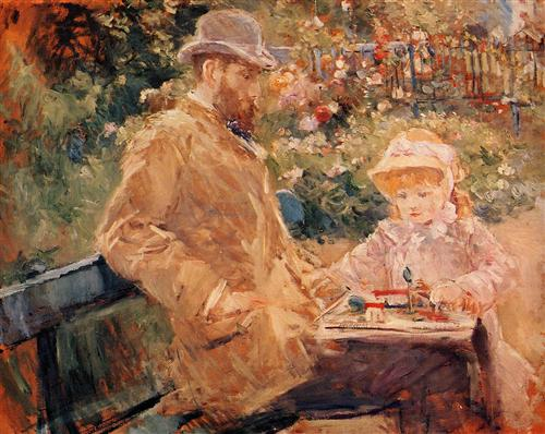 Eugene Manet with his daughter at Bougival - Berthe Morisot