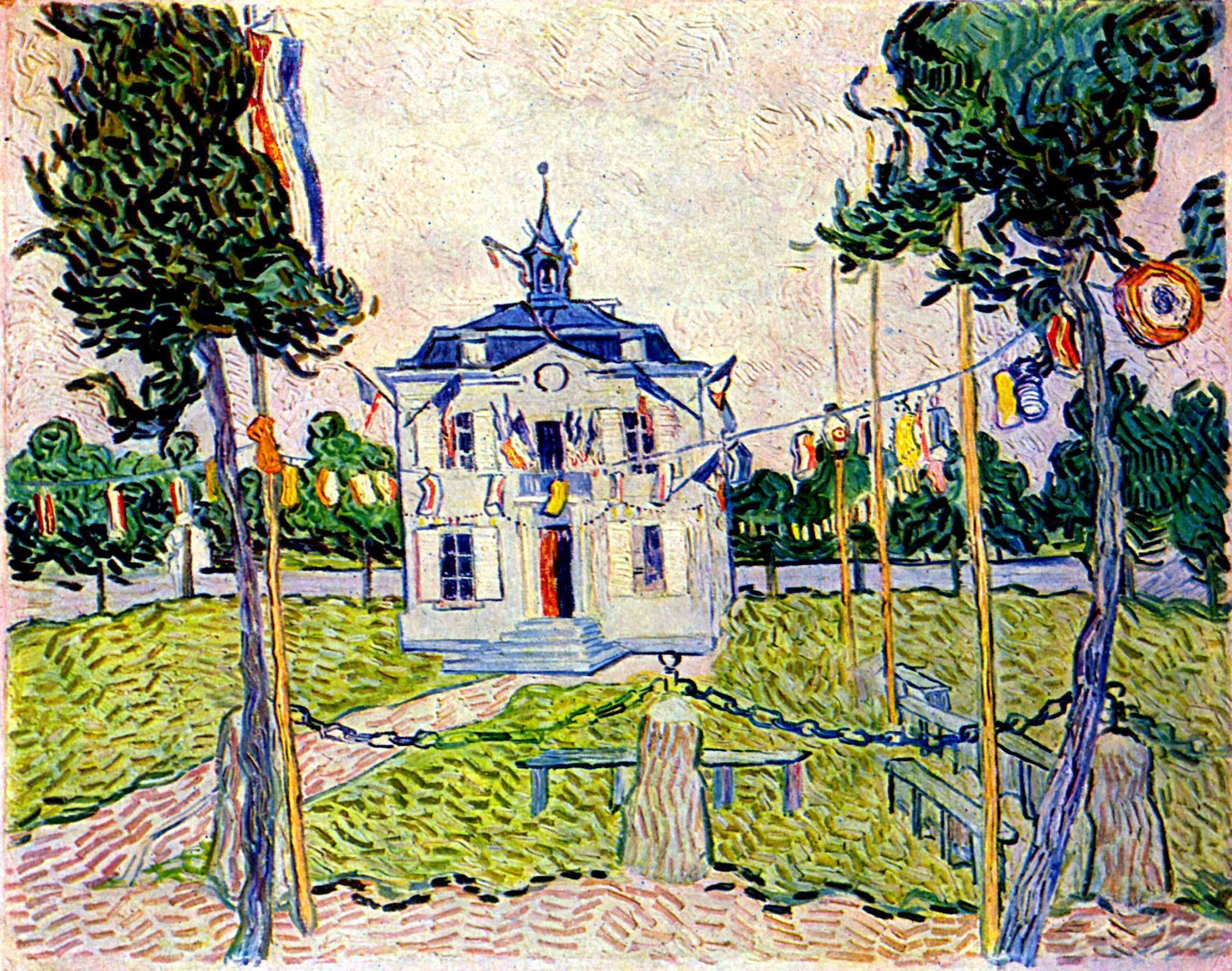Dickensons color caste denomination - Auvers Town Hall In 14 July 1890 Vincent Van Gogh
