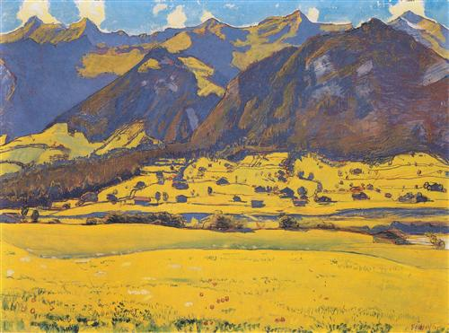 View of the Horn of Fromberg from Reichenbach - Ferdinand Hodler