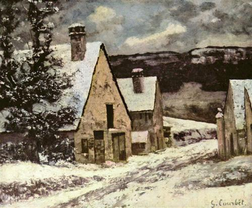 Village Street in Winter - Gustave Courbet