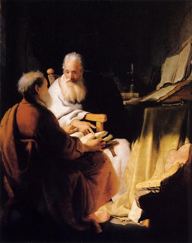 Two Old Men Disputing - Rembrandt