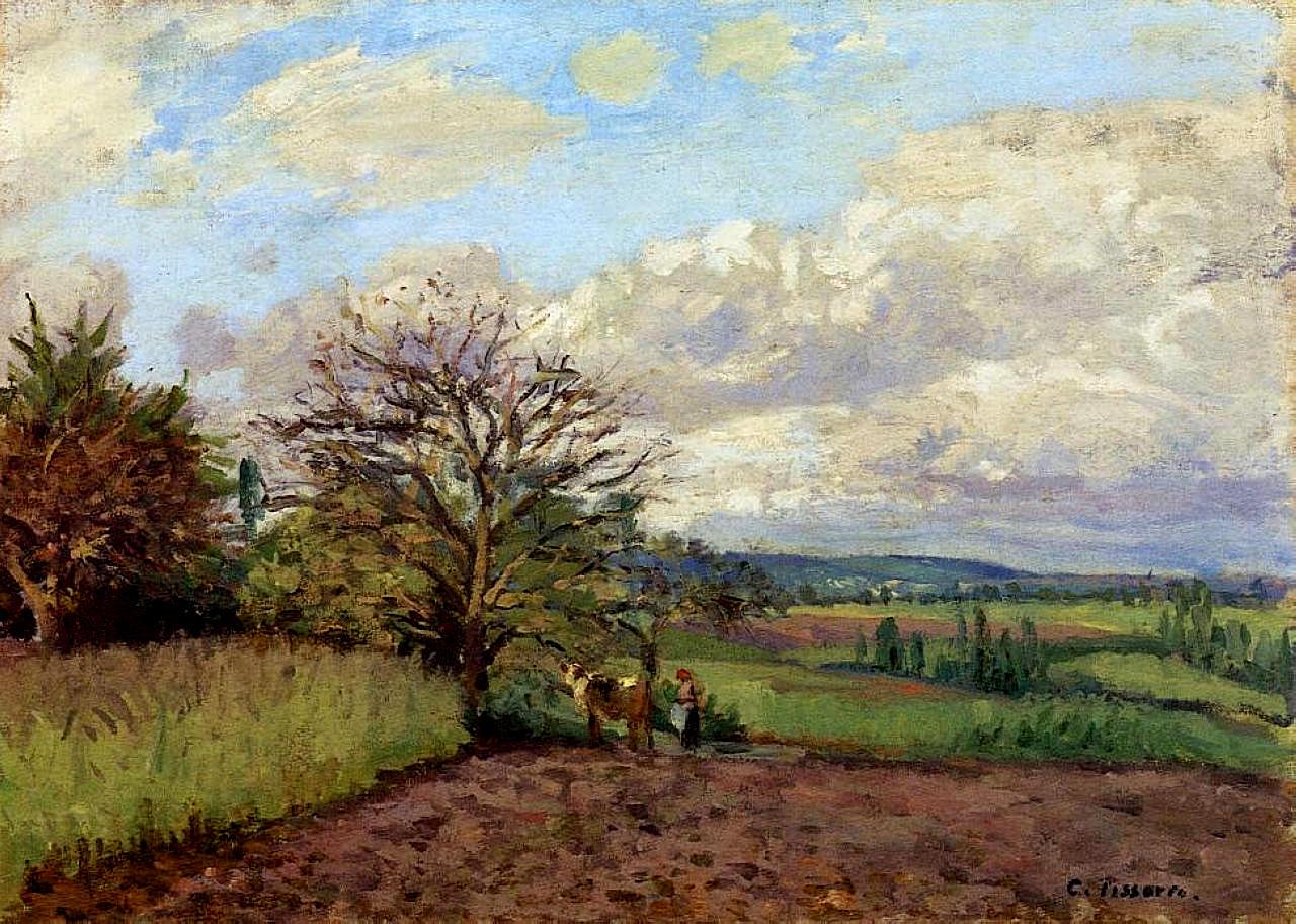 Landscape With A Cowherd C1872 Camille Pissarro