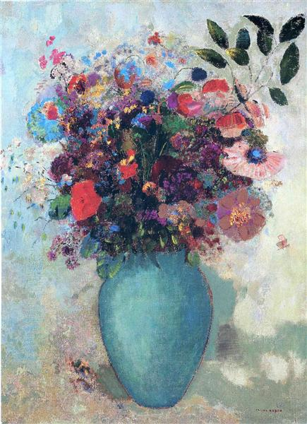 Flowers in a Turquoise Vase  c 1912   Odilon Redon   WikiArt org Flowers in a Turquoise Vase