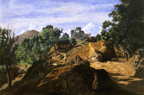 A Chestnut Wood among the Rocks - Camille Corot