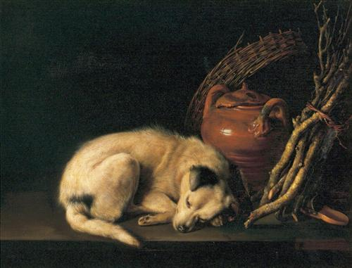 A Sleeping Dog with Terracotta Pot - Gerrit Dou