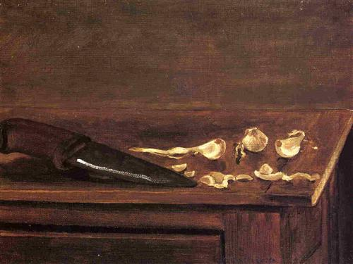 Garlic Cloves and Knife on the Corner of a Table - Gustave Caillebotte