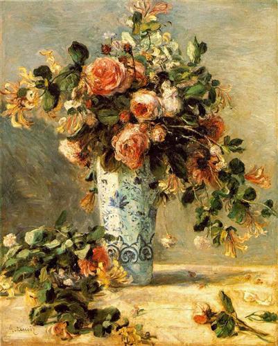 Roses and Jasmine in a Delft Vase - Pierre-Auguste Renoir