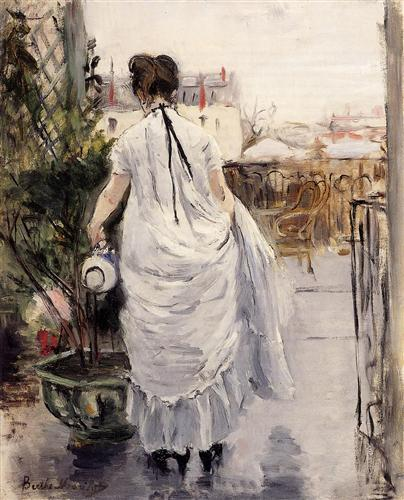 Young Woman Watering a Shurb – 1883 – Berthe Morisot