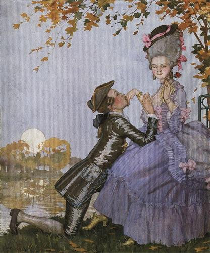 A Youth on His Knees in Front of a Lady - Konstantin Somov