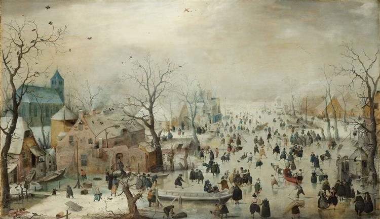 Winter Landscape with Ice Skaters Hendrick Avercamp Date: 1608