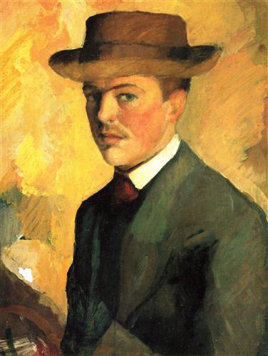 Self-Portraitwith Hat - August Macke
