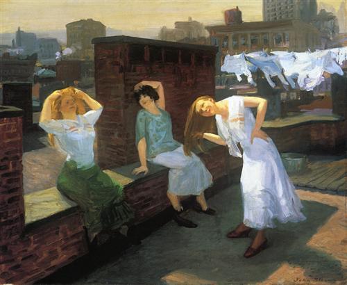 women drying hair, drying laundry, haiku, dirty laundry