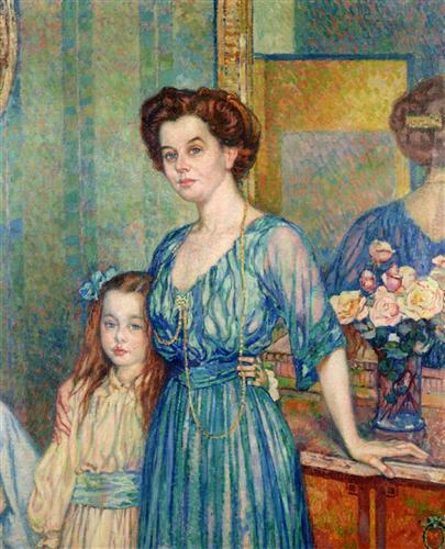 Madame Von Bodenhausen  with her daughter Luli - Theo van Rysselberghe