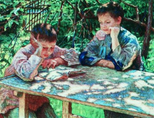 Connoisseurs of books (Knowledge is Power) - Nikolay Bogdanov-Belsky