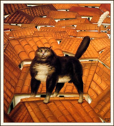 cat of a roof,  Naïve Art (Primitivism), haiku, sedoka, writing challenge