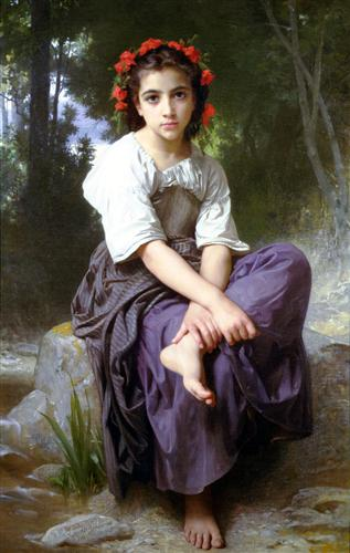 At the Edge of the Brook - William-Adolphe Bouguereau