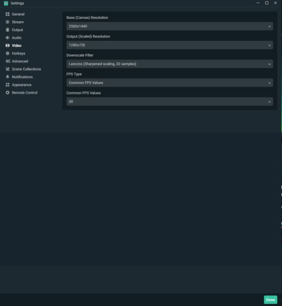 obs settings video