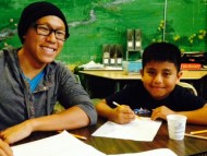 math tutor and young boy