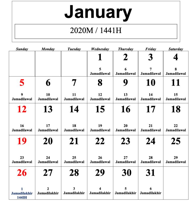 kalendar islam 2020 januari