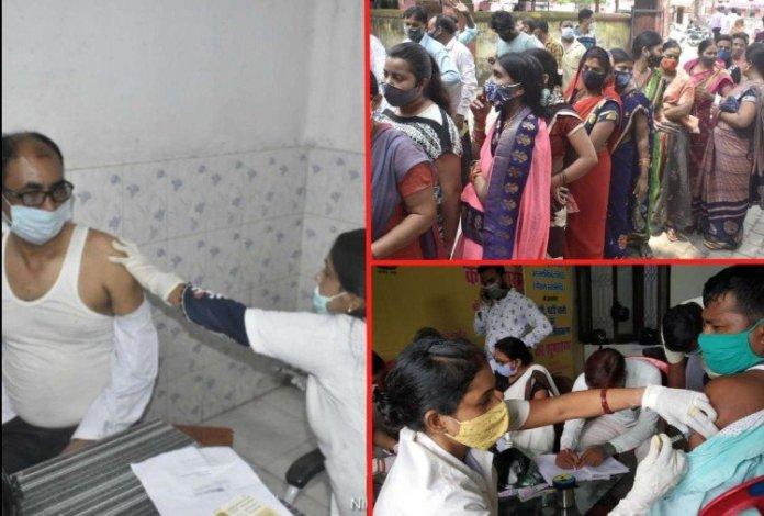 गोरखपुर में कोरोना टीकाकरण।