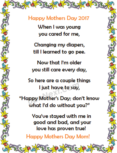 Mothers Day Poem from Son