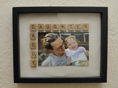 scrabble tile message on frame
