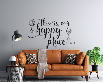 This is Our Happy Place - Two Wine Glasses - Vinyl Wall Decal -  Free Shipping
