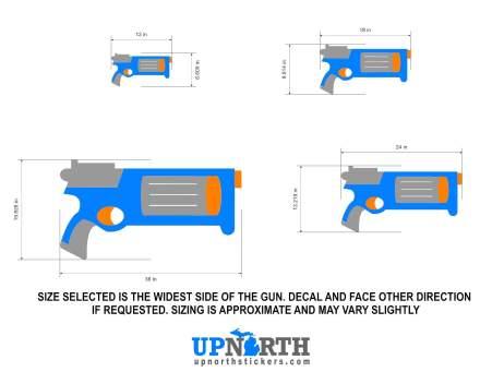 Revolver - Foam Dart Gun - Personalized Vinyl Wall Decal - Free Shipping