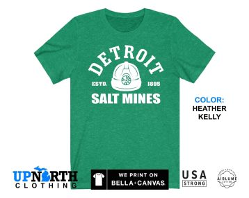 UpNorth Tee - Detroit Salt Mines - Miners Helmet - Detroit Michigan Shirt - Free Shipping