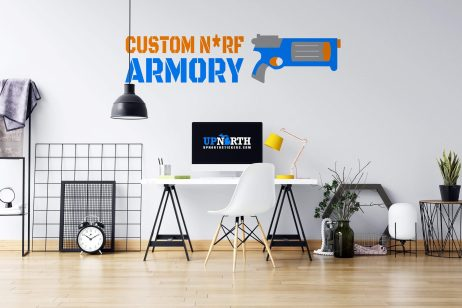 Revolver - Foam Dart Gun with Name - Personalized Vinyl Wall Decal - Made to Order Free Shipping