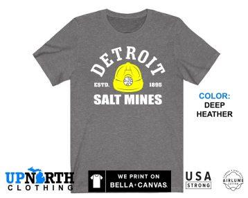 UpNorth Tee - Detroit Salt Mines - Yellow Miners Helmet - Detroit Michigan Shirt - Free Shipping