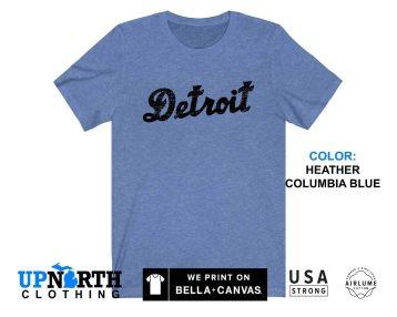 UpNorth Tee - Detroit Cursive (Vintage Print) - Detroit Michigan T-Shirt - Free Shipping