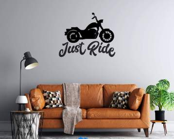 Motorcycle  - Just Ride  - Custom Vinyl Wall or Vehicle Decal - Motorcycle Wall Decal - Free Shipping