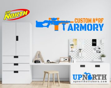 Sniper - Foam Dart Gun with Name - Personalized Vinyl Wall Decal - Made to Order - Free Shipping