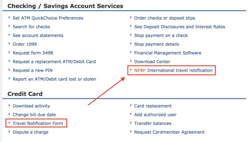 Chase Credit Card International Travel Notice Travelyok