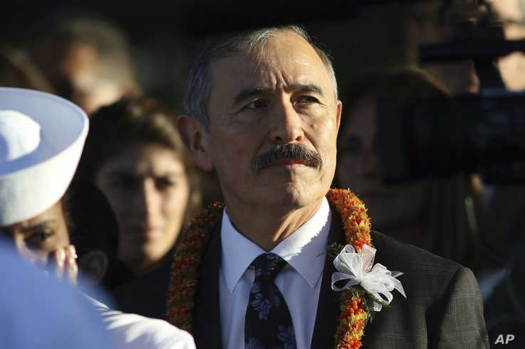 Retired Adm. Harry Harris, currently the U.S. Ambassador to South Korea, attends a ceremony to mark the 78th anniversary of the…
