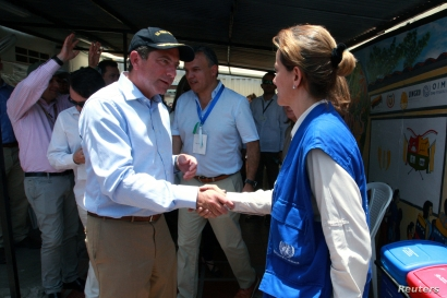 U.S. Secretary of Health and Human Services Secretary Alex Azar visits the Migrant Assistance Center in Cucuta, Colombia, Aug. 26, 2019.