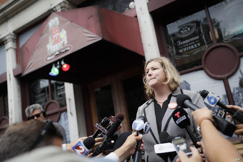 Dayton, Ohio, Mayor Nan Whaley speaks to members of the media Aug. 6, 2019, outside Ned Peppers bar in the Oregon District after a mass shooting early Sunday in Dayton.