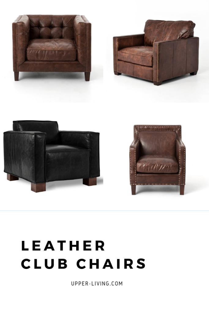 Top Grain Leather Club Chairs