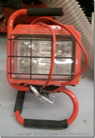 Halogen lamp, great as a raking light for finishing. $10.