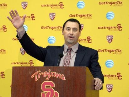 Steve Sarkisian, after accepting the head coaching position at Southern Cal, much to the chagrin of many UW fans (until they heard who was replacing him). Photo credit: Kirby Lee, USA Today Sports