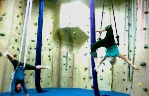 aerial fitness and silks trapeze exercise classes yoga at upper limits indoor rock climbing gym in st. louis