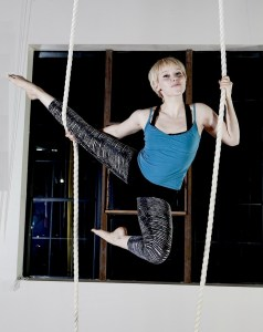 aerial fitness trapeze classes yoga exercise at upper limits indoor rock climbing gym in st. louis