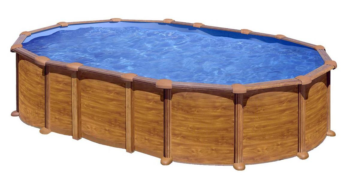 kit piscine hors sol amazonia acier aspect bois ovale 3 renforts u 730 x 375 x h132 cm
