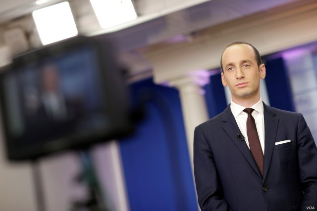 Senior White House Advisor Stephen Miller waits to go on the air in the White House Briefing Room in Washington, Feb. 12, 2017.