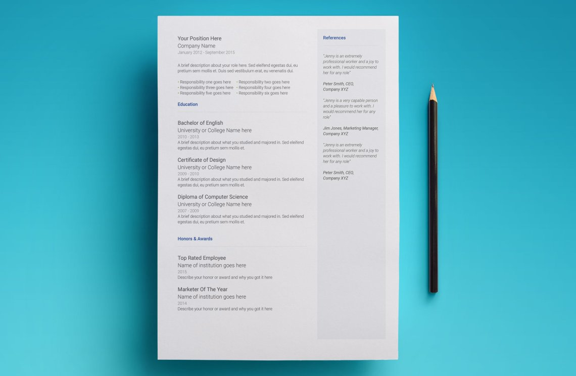 free google docs resume template - modern 2017 design   resume